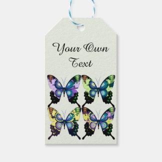 Étiquettes-cadeau Aqua, rose, personnalisation - papillons élégants