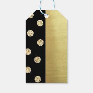 Étiquettes-cadeau Arrière - plan Point-Noir d'or élégant mignon de