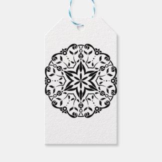Étiquettes-cadeau Art de mandala de concepteurs : blanc noir