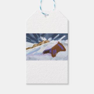 Étiquettes-cadeau Art de montagnes d'hiver