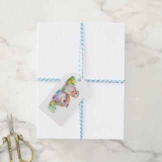 Étiquettes-cadeau Art de Pâques de hibou et de lapin