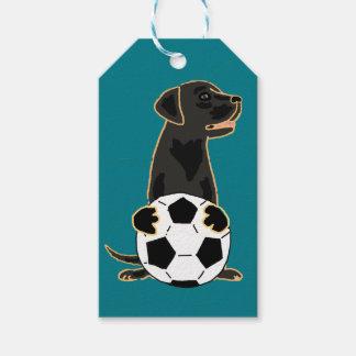 Étiquettes-cadeau Art noir du football de chien de labrador