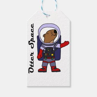 Étiquettes-cadeau Astronaute drôle de loutre de mer dans la bande