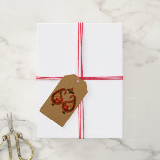 Étiquettes-cadeau Automne Ikat terreux Paisley peint à la main