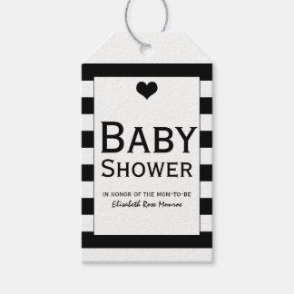 Étiquettes-cadeau Baby shower noir et blanc chic moderne