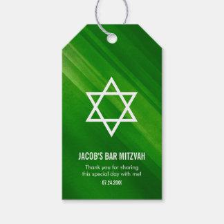 Étiquettes-cadeau Barre grunge verte moderne Mitzvah