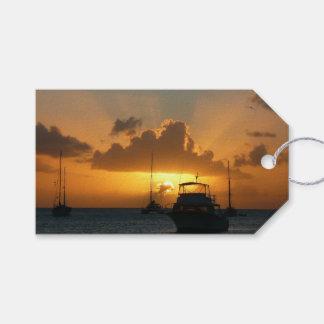 Étiquettes-cadeau Bateaux et paysage marin tropical de coucher du