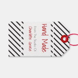 Étiquettes-cadeau Blanc noir fabriqué à la main barré avec la