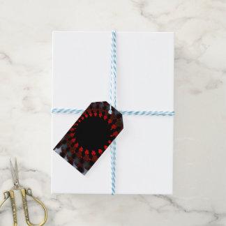 Étiquettes-cadeau Blanc noir rouge de fractale