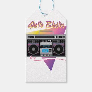 Étiquettes-cadeau boombox de sableuse de ghetto des années 1980
