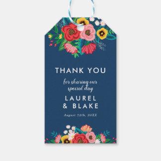 Étiquettes-cadeau Bouquet de Bohème - bleu marine - Merci