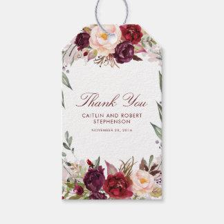Étiquettes-cadeau Bourgogne floral