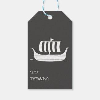 Étiquettes-cadeau Chaloupe de bateau de Viking avec la couleur faite