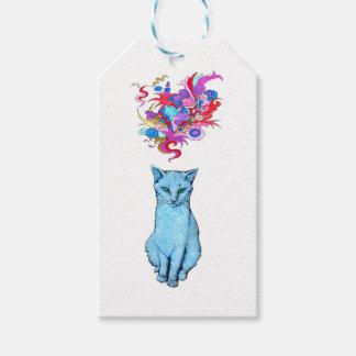 Étiquettes-cadeau Chat bleu psychédélique