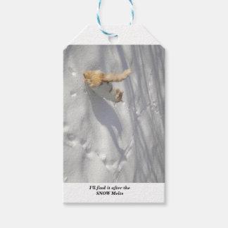 Étiquettes-cadeau chat dans la neige