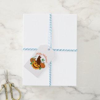 Étiquettes-cadeau Chat et citrouilles