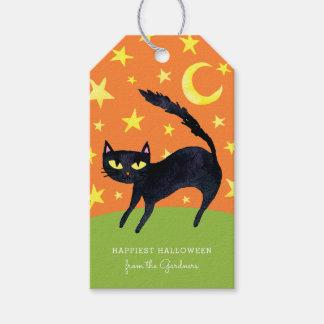 Étiquettes-cadeau Chat noir de Halloween