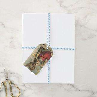 Étiquettes-cadeau Chat sur un traîneau