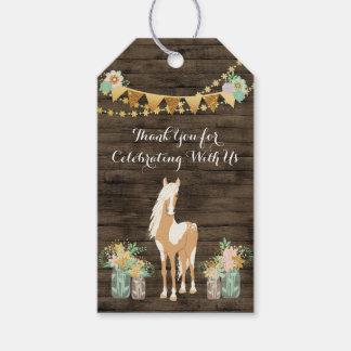 Étiquettes-cadeau Cheval personnalisé, anniversaire en bois rustique