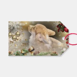 Étiquettes-cadeau Chiot de corgi de Gallois de vacances