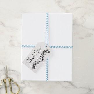 Étiquettes-cadeau Coeur noir et blanc floral de laurier de Merci