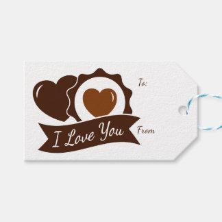 Étiquettes-cadeau Coeurs Brown de chocolat d'amour et mariage blanc