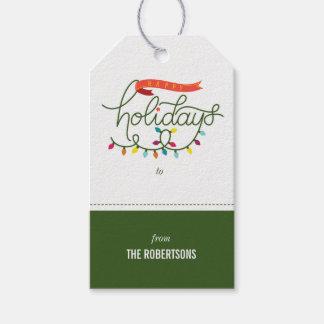 Étiquettes-cadeau Coloré personnalisé bonnes fêtes