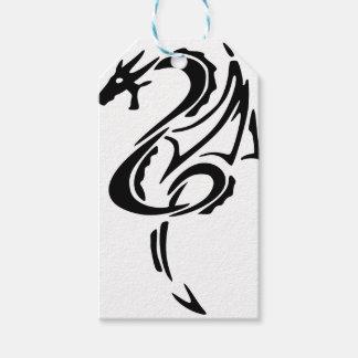 Étiquettes-cadeau Conception noire de tatouage de dragon