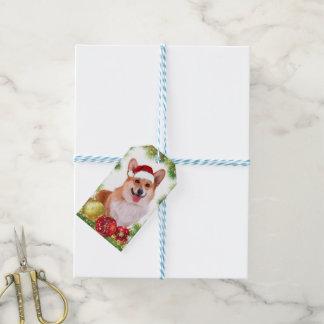 Étiquettes-cadeau Corgi de sourire de Gallois de vacances