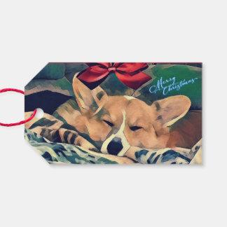 Étiquettes-cadeau Corgi tricolore de Gallois de vacances