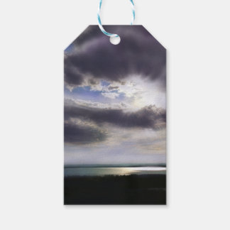 Étiquettes-cadeau Coucher du soleil au-dessus du lac