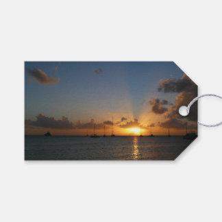 Étiquettes-cadeau Coucher du soleil avec la photo tropicale de