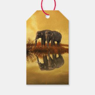 Étiquettes-cadeau Coucher du soleil d'éléphants