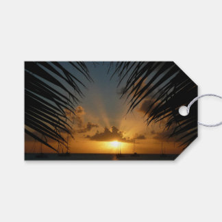 Étiquettes-cadeau Coucher du soleil par le paysage marin tropical de