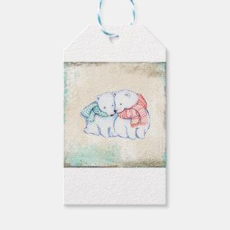 Étiquettes-cadeau Couples d'ours blancs