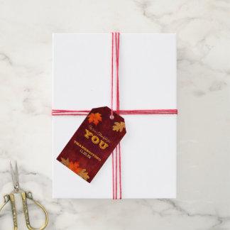 Étiquettes-cadeau Couvert de thanksgiving reconnaissant pour des