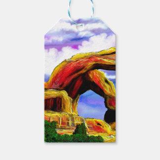 Étiquettes-cadeau Double peinture de paysage de voûte