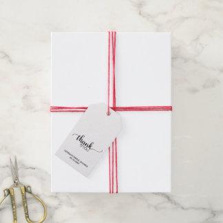Étiquettes-cadeau Douche nuptiale de Merci noir et blanc de