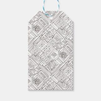 Étiquettes-cadeau En dehors du motif géométrique Boîte-Noir et blanc