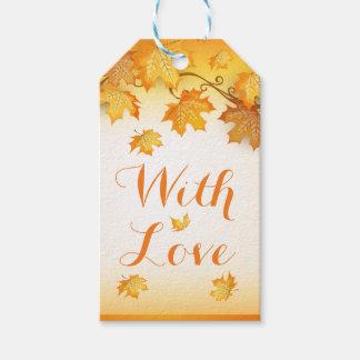 Étiquettes-cadeau Épouser orange rustique de feuille d'automne
