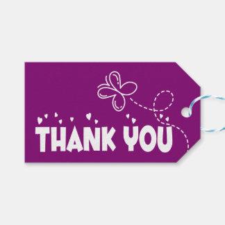 Étiquettes-cadeau Épouser pourpre de papillons et de coeurs de Merci