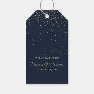 Étiquettes-cadeau Étoiles filantes élégantes de marine et d'or