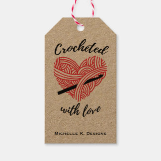 Étiquettes-cadeau Fait du crochet avec l'amour/métiers faits main de