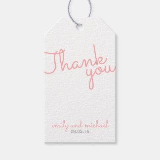 Étiquettes-cadeau Faveur moderne rose de mariage de typographie