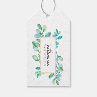 Étiquettes-cadeau Feuille peint par aquarelle moderne BOTANIQUE de