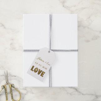 Étiquettes-cadeau Fiançailles élégant de mariage d'or de typographie