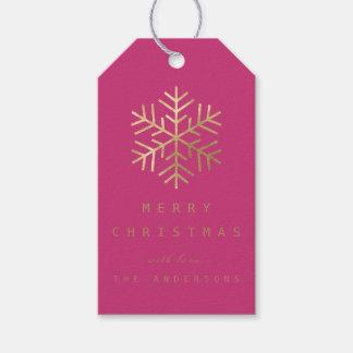 Étiquettes-cadeau Flocons de neige d'or roses fuchsia d'étiquette de
