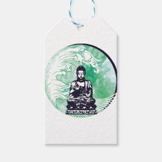Étiquettes-cadeau Fumée d'émeraude de vague de Bouddha d'ouragan