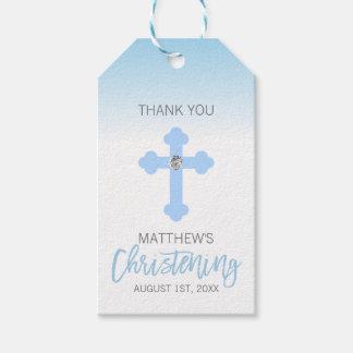 Étiquettes-cadeau Garçon élégant de baptême de MERCI de croix de