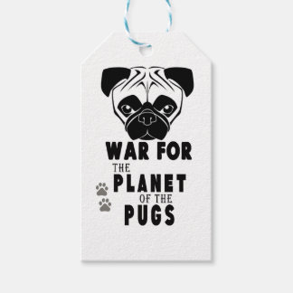 Étiquettes-cadeau guerre pour la planète du chien frais de carlins